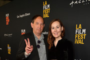 "Daniel Braun and Jennifer Cochis attends the 2018 LA Film Festival opening night premiere of ""Echo In The Canyon"" at John Anson Ford Amphitheatre on September 20, 2018 in Hollywood, California."