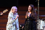 "Michelle Phillips and Jade Castrinos perform during the 2018 LA Film Festival opening night premiere of ""Echo In The Canyon"" at John Anson Ford Amphitheatre on September 20, 2018 in Hollywood, California."