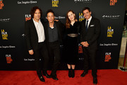 """Andrew Slater, Jakob Dylan, Jennifer Cochis, and Josh Welsh attend sthe 2018 LA Film Festival opening night premiere of """"Echo In The Canyon"""" at John Anson Ford Amphitheatre on September 20, 2018 in Hollywood, California."""