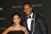 Actor-model Karrueche Tran (L) and former NFL player Victor Cruz attend 2018 LACMA Art + Film Gala honoring Catherine Opie and Guillermo del Toro presented by Gucci at LACMA on November 3, 2018 in Los Angeles, California.