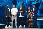 (L-R) Mike Sorrentino aka The Situation, Vinny Guadagnino, Paul DelVecchio aka DJ Pauly D, Deena Nicole Cortese, and Ronnie Ortiz-Magro speak onstage during the 2018 MTV Movie And TV Awards at Barker Hangar on June 16, 2018 in Santa Monica, California.