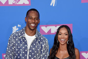 Victor Cruz and Karrueche Tran attend the 2018 MTV Video Music Awards at Radio City Music Hall on August 20, 2018 in New York City.