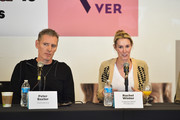Peter Baxter and Rachel Winter speak onstage during the 2018 Mammoth Lakes Film Festival on May 26, 2018 in Mammoth Lakes, California.