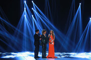 Miss North Carolina Caelynn Miller-Keyes answers questions for hosts Nick Lachey and Vaessa Lachey during of the 2018 Miss USA Competition at George's Pond at Hirsch Coliseum on May 21, 2018 in Shreveport, Louisiana.