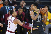 Shaun Livingston #34 of the Golden State Warriors controls the ball against Jordan Clarkson #8 of the Cleveland Cavaliers in Game 2 of the 2018 NBA Finals at ORACLE Arena on June 3, 2018 in Oakland, California. NOTE TO USER: User expressly acknowledges and agrees that, by downloading and or using this photograph, User is consenting to the terms and conditions of the Getty Images License Agreement.