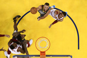 Stephen Curry #30 of the Golden State Warriors attempts a layup over Jordan Clarkson #8 of the Cleveland Cavaliers in Game 2 of the 2018 NBA Finals at ORACLE Arena on June 3, 2018 in Oakland, California. NOTE TO USER: User expressly acknowledges and agrees that, by downloading and or using this photograph, User is consenting to the terms and conditions of the Getty Images License Agreement.