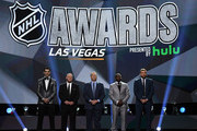 (L-R) Brian Boyle of the New Jersey Devils, head coach Gerard Gallant of the Vegas Golden Knights, general manager Kevin Cheveldayoff of the Winnipeg Jets, P.K. Subban of the Nashville Predators and Blake Wheeler of the Winnipeg Jets speak onstage during the 2018 NHL Awards presented by Hulu at The Joint inside the Hard Rock Hotel & Casino on June 20, 2018 in Las Vegas, Nevada.