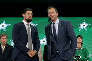 (l-r) Jamie Benn and Mike Modano speak to the audience prior to the first round of the 2018 NHL Draft at American Airlines Center on June 22, 2018 in Dallas, Texas.