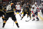 William Carrier #28 of the Vegas Golden Knights skates against Devante Smith-Pelly #25 of the Washington Capitals during the first period in Game Five of the 2018 NHL Stanley Cup Final at T-Mobile Arena on June 7, 2018 in Las Vegas, Nevada.