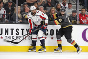 Alex Ovechkin #8 of the Washington Capitals and Pierre-Edouard Bellemare #41 of the Vegas Golden Knights battle for position during the first period in Game Five of the 2018 NHL Stanley Cup Final at T-Mobile Arena on June 7, 2018 in Las Vegas, Nevada. The Capitals defeated the Golden Knights 4-3.