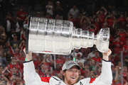Nicklas Backstrom #19 of the Washington Capitals carries the Stanley Cup in celebration after his team defeated the Vegas Golden Knights 4-3 in Game Five of the 2018 NHL Stanley Cup Final at the T-Mobile Arena on June 7, 2018 in Las Vegas, Nevada.