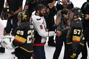 Alex Ovechkin #8 of the Washington Capitals shakes hands with David Perron #57 of the Vegas Golden Knights after his teams 4-3 win in Game Five of the 2018 NHL Stanley Cup Final at T-Mobile Arena on June 7, 2018 in Las Vegas, Nevada.