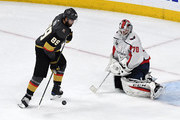 Alex Tuch #89 of the Vegas Golden Knights gets a rebound from a blocked shot by Braden Holtby #70 of the Washington Capitals in the second period of Game Five of the 2018 NHL Stanley Cup Final at T-Mobile Arena on June 7, 2018 in Las Vegas, Nevada. The Capitals defeated the Golden Knights 4-3.