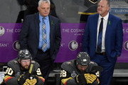 (L-R) Tomas Tatar #90, assistant coach Mike Kelly, William Carrier #28 and head coach Gerard Gallant of the Vegas Golden Knights wait at their bench as the Washington Capitals celebrate their 4-3 victory in Game Five of the 2018 NHL Stanley Cup Final at T-Mobile Arena on June 7, 2018 in Las Vegas, Nevada. The Capitals won the series four games to one.