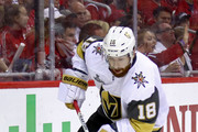 James Neal #18 of the Vegas Golden Knights carries the puck against the Washington Capitals during the first period in Game Four of the 2018 NHL Stanley Cup Final at Capital One Arena on June 4, 2018 in Washington, DC.