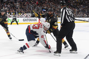 Jay Beagle #83 of the Washington Capitals and Pierre-Edouard Bellemare #41 of the Vegas Golden Knights battle for a face-off in Game One of the 2018 NHL Stanley Cup Final at T-Mobile Arena on May 28, 2018 in Las Vegas, Nevada.
