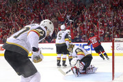 Shea Theodore #27 and Marc-Andre Fleury #29 of the Vegas Golden Knights reacts to the goal by Devante Smith-Pelly #25 of the Washington Capitals during the third period in Game Three of the 2018 NHL Stanley Cup Final at Capital One Arena on June 2, 2018 in Washington, DC. The Capitals defeated the Golden Knights 3-1.