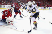 Braden Holtby #70 of the Washington Capitals tends goal against Pierre-Edouard Bellemare #41 of the Vegas Golden Knights in Game Three of the 2018 NHL Stanley Cup Final at Capital One Arena on June 2, 2018 in Washington, DC.