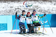 From left, silver medalist Oksana Masters of the United States, gold medalist Kendall Gretsch of the United States, and bronze medalist Lidziya Hrafeyeva of Belarus after the Women's seated 6k at Alpensia Biathlon Centre on Day 1 of the PyeongChang 2018 Paralympic Games on March 10, 2018 in Pyeongchang-gun, South Korea.