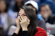 A supporter of Roger Federer of Switzerland crying during his Men's Singles - Semifinals match against Borna Coric of Croatia in the 2018 Rolex Shanghai Masters at Qi Zhong Tennis Centre on October 13, 2018 in Shanghai, China.
