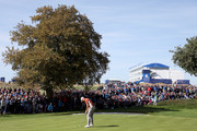 Henrik Stenson of Europe plays a shot during the afternoon foursome matches of the 2018 Ryder Cup at Le Golf National on September 29, 2018 in Paris, France.