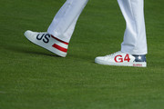 Detailed view of Bubba Watson's shoes during the afternoon foursome matches of the 2018 Ryder Cup at Le Golf National on September 28, 2018 in Paris, France.