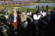 Phil Mickelson of the United States and wife Amy Mickelson watch on during the afternoon foursome matches of the 2018 Ryder Cup at Le Golf National on September 29, 2018 in Paris, France.