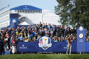 Henrik Stenson of Europe plays his shot from the fourth tee during the afternoon foursome matches of the 2018 Ryder Cup at Le Golf National on September 29, 2018 in Paris, France.