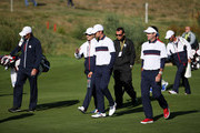Vice-Captain Zach Johnson of the United States, Webb Simpson of the United States and Bubba Watson of the United States walk during practice ahead of the 2018 Ryder Cup at Le Golf National on September 25, 2018 in Paris, France.