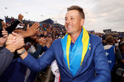 Henrik Stenson of Europe celebrates after winning The Ryder Cup during singles matches of the 2018 Ryder Cup at Le Golf National on September 30, 2018 in Paris, France.