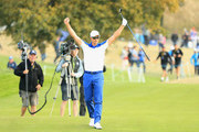 Henrik Stenson of Europe reacts after his second shot on the 17th during singles matches of the 2018 Ryder Cup at Le Golf National on September 30, 2018 in Paris, France.