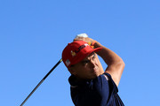 Rickie Fowler of the United States plays his shot from the ninth tee during singles matches of the 2018 Ryder Cup at Le Golf National on September 30, 2018 in Paris, France.