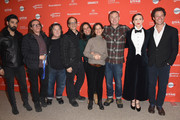 "(L-R) Actor Ray Panthaki, Stephen Woolley, Christine Vachon, Gary Michael Walters, Elizabeth Karlsen, Pamela Koffler, Writer/Director Wash Westmoreland, Actors Keira Knightley and Dominic West attend the ""Colette"" Premiere during the 2018 Sundance Film Festival at Eccles Center Theatre on January 20, 2018 in Park City, Utah."