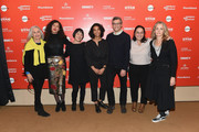 "(L-R) Actor Susan Bay Nimoy, directors Assia Boundaoui, Elizabeth Ito, Christine Turner and Jason Benjamin, producer Caroline Libresco and director Jenny Gage attend the ""Lenny"" And ""Eve"" Premieres during the 2018 Sundance Film Festival at Egyptian Theatre on January 23, 2018 in Park City, Utah."