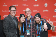 "Actor Rich Sommer, Directors Anouk Whissell, Yoann-Karl Whissell, and Francois Simard attend the ""Summer Of '84"" Premiere during the 2018 Sundance Film Festival at Park City Library on January 22, 2018 in Park City, Utah."