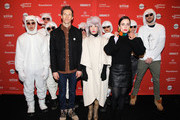 "(Center L-R) Director Daryl Wein and actors Vivian Bang and Zoe Lister-Jones and ""The White Rabbit Crew"" attend the ""White Rabbit"" and ""Lazercism"" Premieres during the 2018 Sundance Film Festival at Park Avenue Theater on January 19, 2018 in Park City, Utah."