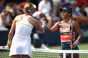 Ekaterina Makarova of Russia shakes hands with Heather Watson of Great Britain after their women's singles first round match against on Day One of the 2018 US Open at the USTA Billie Jean King National Tennis Center on August 27, 2017 in the Flushing neighborhood of the Queens borough of New York City.