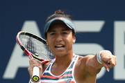 Heather Watson of Great Britain reactsl in her women's singles first round match against Ekaterina Makarova of Russia on Day One of the 2018 US Open at the USTA Billie Jean King National Tennis Center on August 27, 2017 in the Flushing neighborhood of the Queens borough of New York City.