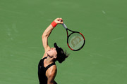 Andrea Petkovic of Germany serves the ball during her women's singles first round match against Jelena Ostapenko of Latvia on Day Two of the 2018 US Open at the USTA Billie Jean King National Tennis Center on August 28, 2018 in the Flushing neighborhood of the Queens borough of New York City.