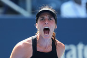 Andrea Petkovic of Germany reacts her women's singles first round match against Jelena Ostapenko of Latvia on Day Two of the 2018 US Open at the USTA Billie Jean King National Tennis Center on August 28, 2018 in the Flushing neighborhood of the Queens borough of New York City.