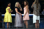 New Amazon Prime TV prsenters Catherine Whitaker and Annabel Croft are seen during previews for the US Open at USTA Billie Jean King National Tennis Center on August 26, 2018 in the Flushig Neighborhood of Queens borough of New York City.