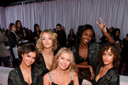 Maia Cotton, Willow Hand, Maggie Laine, Leomie Anderson, and Alanna Arrington prepare backstage during 2018 Victoria's Secret Fashion Show in New York at Pier 94 on November 8, 2018 in New York City.