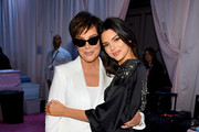 Kris Jenner and Kendall Jenner pose backstage during the 2018 Victoria's Secret Fashion Show in New York at Pier 94 on November 8, 2018 in New York City.