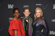 (L-R) Honorees Artist Lorna Simpson, VP for Whitney Museum Beth Rudin DeWoody and Trustee for Whitney Museum of American Art Joanne Leonhardt Cassullo attends the 2018 Whitney Gala sponsored by Audi on May 22, 2018 at Whitney Museum of American Art in New York City.