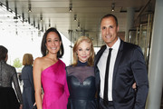 (L-R) Cristen Barker, Honoree and Trustee, Whitney Museum of American Art Joanne Leonhardt Cassullo and Nigel Barker attend the 2018 Whitney Gala sponsored by Audi on May 22, 2018 at Whitney Museum of American Art in New York City.
