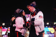 Madison Chock and Evan Bates of the United States walk with Team USA in the Parade of Athletes during the Closing Ceremony of the PyeongChang 2018 Winter Olympic Games at PyeongChang Olympic Stadium on February 25, 2018 in Pyeongchang-gun, South Korea.