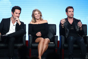 (L-R) Actors Ed Weeks, Kim Matula and Dylan McDermott of the television show LA To Vegas speak onstage during the FOX portion of the 2018 Winter Television Critics Association Press Tour at The Langham Huntington, Pasadena on January 4, 2018 in Pasadena, California.