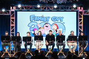 (L-R) Co-executve Producer Travis Bowe, actors Rachael MacFarlane, Seth Green and Mila Kunis, creator/executive producer Seth MacFarlane, executve producer/showrunner Rich Appel, executive producer/showrunner Alec Sulkin and co-executive producer Cherry Chevapravat-Dumrong of the television show Family Guy perform a live read onstage during the FOX portion of the 2018 Winter Television Critics Association Press Tour at The Langham Huntington, Pasadena on January 4, 2018 in Pasadena, California.