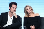 Actors Ed Weeks and Kim Matula of the television show LA To Vegas speak onstage during the FOX portion of the 2018 Winter Television Critics Association Press Tour at The Langham Huntington, Pasadena on January 4, 2018 in Pasadena, California.