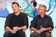 Creator/executive producer Seth MacFarlane (L) and executve producer/showrunner Rich Appel of the television show Family Guy speak onstage during the FOX portion of the 2018 Winter Television Critics Association Press Tour at The Langham Huntington, Pasadena on January 4, 2018 in Pasadena, California.